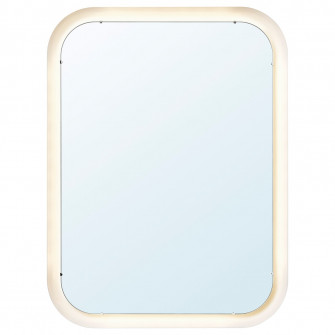 IKEA STORJORM Oglinda cu iluminat integrat, alb, 80x60