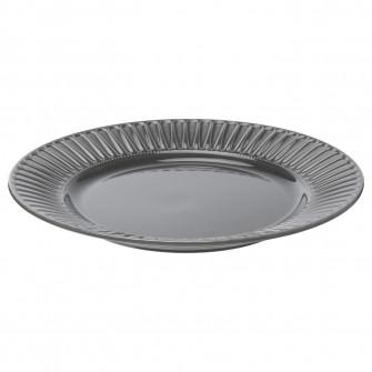 IKEA STRIMMIG Farfurie, ceramica glz gri, 27 cm