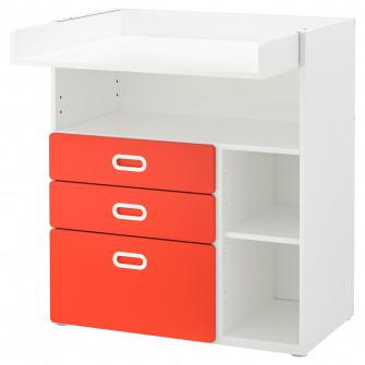 IKEA STUVA / FRITIDS Masa infasat cu sertare, alb, rosu