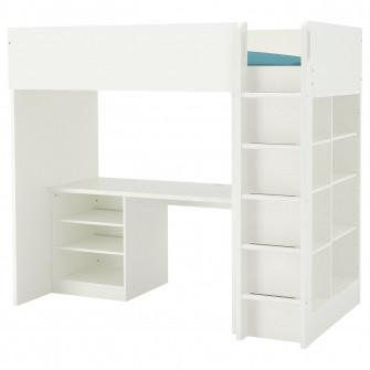 IKEA STUVA Pat supraetajat cu 2/3 polite, alb, 90x200 c