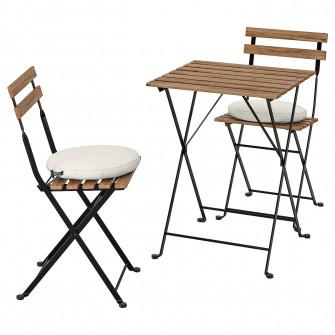 IKEA TARNO Masa+2 scaune exterior, vopsit negru/gri-mar