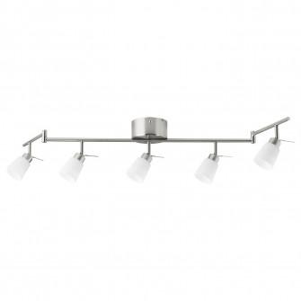 IKEA TIDIG Plafoniera 5 spoturi, nichelat
