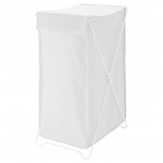 IKEA TORKIS Cos rufe, alb/gri, 90 l