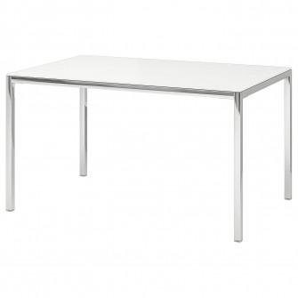 IKEA TORSBY Masa, cromat, sticla alb, 135x85 cm