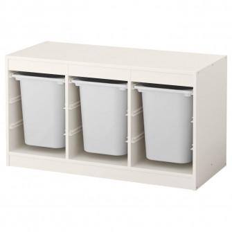 IKEA TROFAST Ansamblu depozitare+cutie, alb, alb