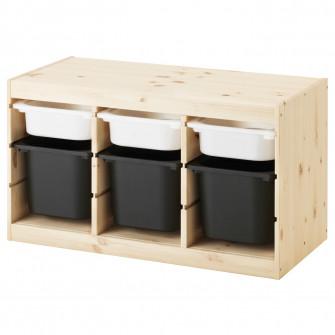 IKEA TROFAST Ansamblu depozitare+cutie, pn pin vopsit a