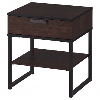 IKEA TRYSIL Noptiera, maro inchis, negru, 45x40 cm