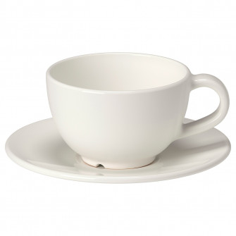 IKEA VARDAGEN Cana cafea si farfurie, alb