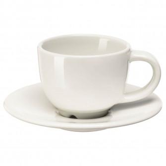 IKEA VARDAGEN Ceasca cu farfurie espresso, alb, 6 cl