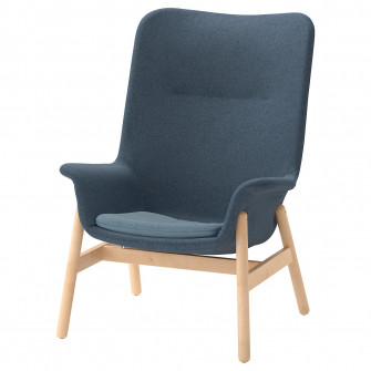 IKEA VEDBO Fotoliu spatar inalt, Gunnared albastru