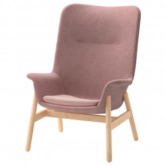 IKEA VEDBO Fotoliu spatar inalt, Gunnared roz-maro desc