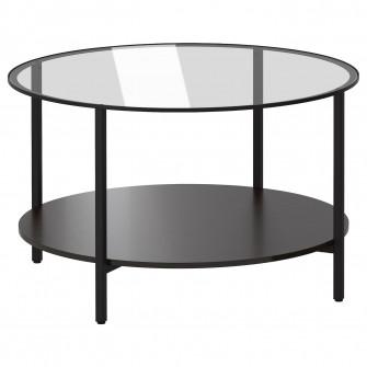 IKEA VITTSJO Masuta cafea, negru-maro, sticla, 75 cm
