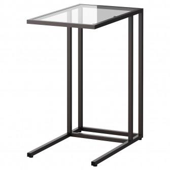 IKEA VITTSJO Suport laptop, negru-maro, sticla, 35x65 c