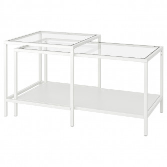 IKEA VITTSJO Set 2 mese, alb, sticla, 90x50 cm