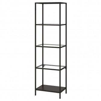 IKEA VITTSJO Etajera, negru-maro, sticla, 51x175 cm