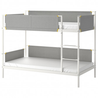 IKEA VITVAL Cadru pat supraetajat, alb, gri, 90x200 cm