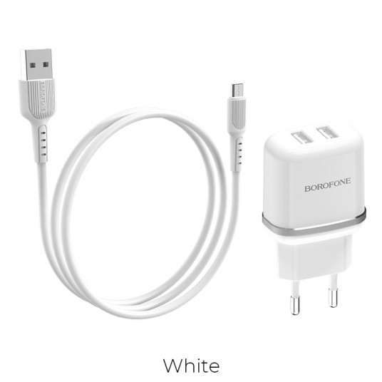 Borofone BA25A Outstanding dual port charger set(Micro)(EU), white