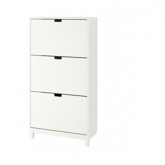 IKEA STALL Dulap pantofi 3 compartimente, alb, 79x148 c