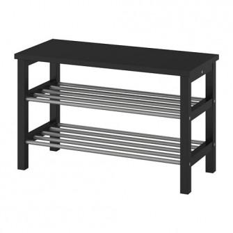 IKEA TJUSIG Banca depozitare pantofi, negru, 81x50 cm