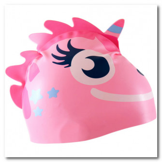 Casca de Inot Silicon Imprimeu Unicorn Roz