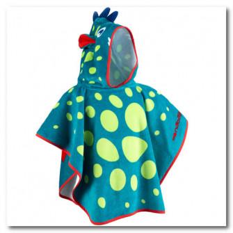 Poncho cu gluga Albastru/ Verde Imprimeu Dragon Copii