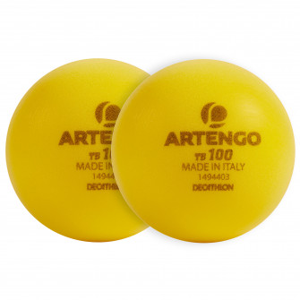 Set de 2 mingi x 9cm din spuma Tenis TB100 Galben