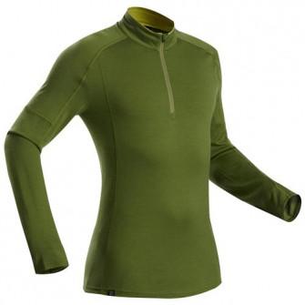 Bluza cu fermoar Lana merinos Trekking la munte Trek 50