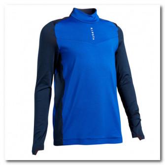 Bluza Fotbal T900 Fermoar Scurt Albastru/Bleumarin Copi