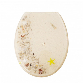Capac WC din polirasina, KT-038PD21, nisip, inchidere s