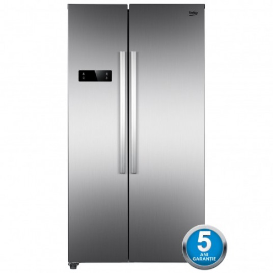 Side by side Beko GNO4331XP, 433 l, clasa A++, inaltime 177 cm, sistem No Frost, tehnologie NeoFrost dual cooling, ventilator, display touch control, Vacation Mode, argintiu