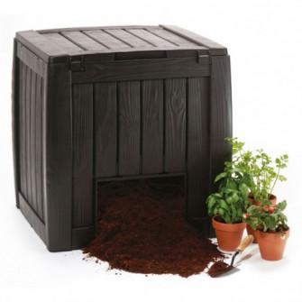 Lada compost pentru gradina Curver, din PVC, maro, 72 x