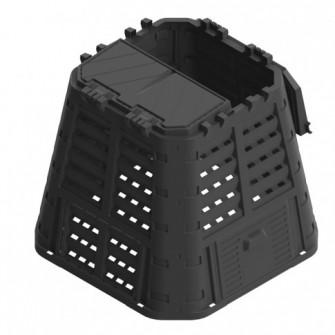 Lada compost pentru gradina, din PVC, neagra, 420 L