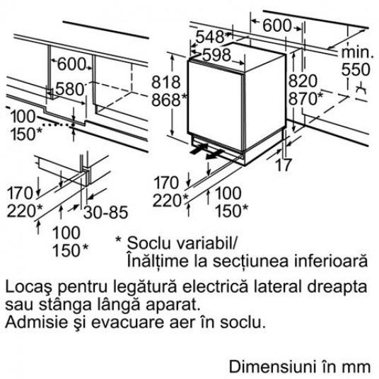 Frigider cu o usa incorporabil Bosch KUL15A65, 123 l, Clasa A++, H 82 cm