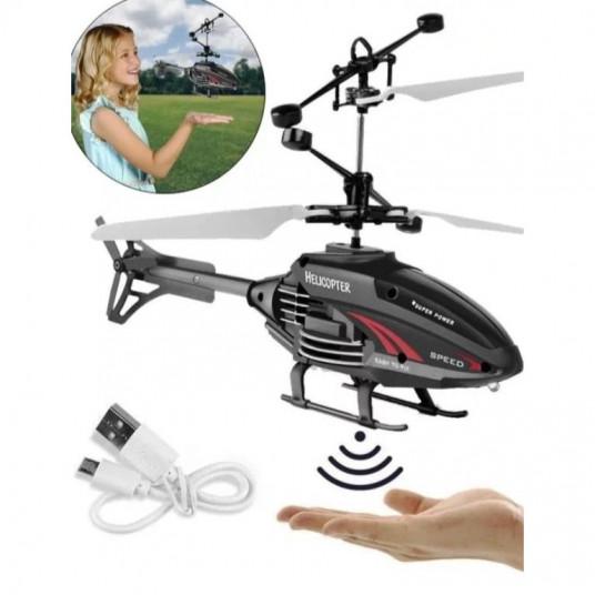 Mini drona elicopter, cu inductie si infrarosu, negru