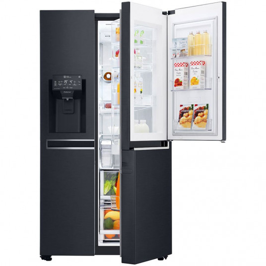 Side by side LG GSX961MCVZ InstaView Door in Door, 601 l, Clasa A++, No Frost, Compresor Inverter Linear, Door Cooling, Negru