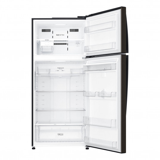 Frigider cu doua usi LG GTF744BLPZD, 509 l, Clasa A++, No Frost, Smart Diagnosis, WiFi, Mirror Touch Display, Iluminare LED, Dispenser apa, Compresor inverter liniar, H 180 cm, Negru