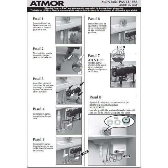 Instant electric pentru apa calda Atmor- Basic in line pentru chiuveta