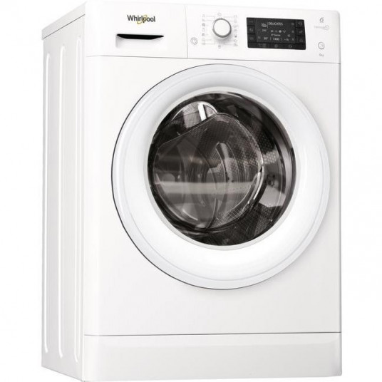Masina de spalat rufe Slim Whirlpool FreshCare+ FWSD61253W EU EU, 6th Sense Colours, 6 kg, 1200 RPM, Clasa A+++, Alb