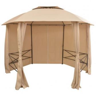 Pavilion de gradina, cu perdele, hexagonal, vidaXL, 360