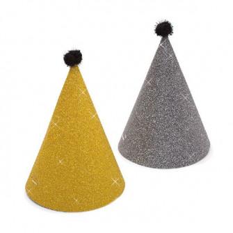 Coifuri de petrecere 16 cm auriu/ negru cu sclipici si