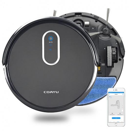 Robot aspirare Coayu C530, Mop, Planificare itinerariu smart, Control prin aplicatie, Capacitate 0,48 L, 2200 mAh, Senzori anti-coliziune si anti-cadere, filtru HEPA, Negru/Gri