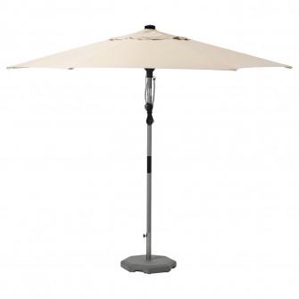 IKEA BETSO / LINDOJA Umbrela+baza, aspect lemn gri bej,