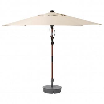 IKEA BETSO / LINDOJA Umbrela+baza, aspect lemn maro bej