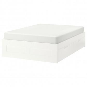 IKEA BRIMNES Cadru pat cu depozitare, alb, Lonset, 140x