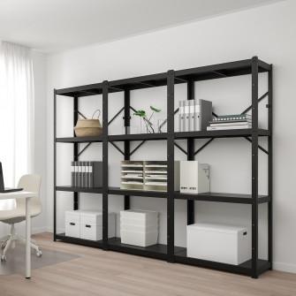 IKEA BROR Etajera, negru, 254x40x190 cm