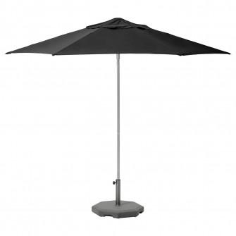 IKEA KUGGO / LINDOJA Umbrela+baza, negru, Huvon gri inc