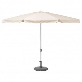 IKEA LJUSTERO Umbrela+baza, bej, Huvon gri inchis, 400