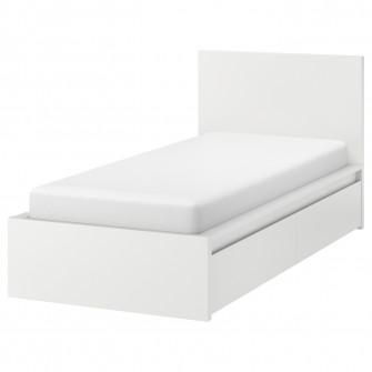 IKEA MALM Cadru pat inalt+2 cutii depozitare, alb, Lons