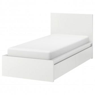 IKEA MALM Cadru pat inalt+2 cutii depozitare, alb, 90x2