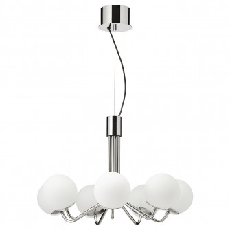 IKEA SIMRISHAMN Candelabru 7 brate, cromat, opal sticla